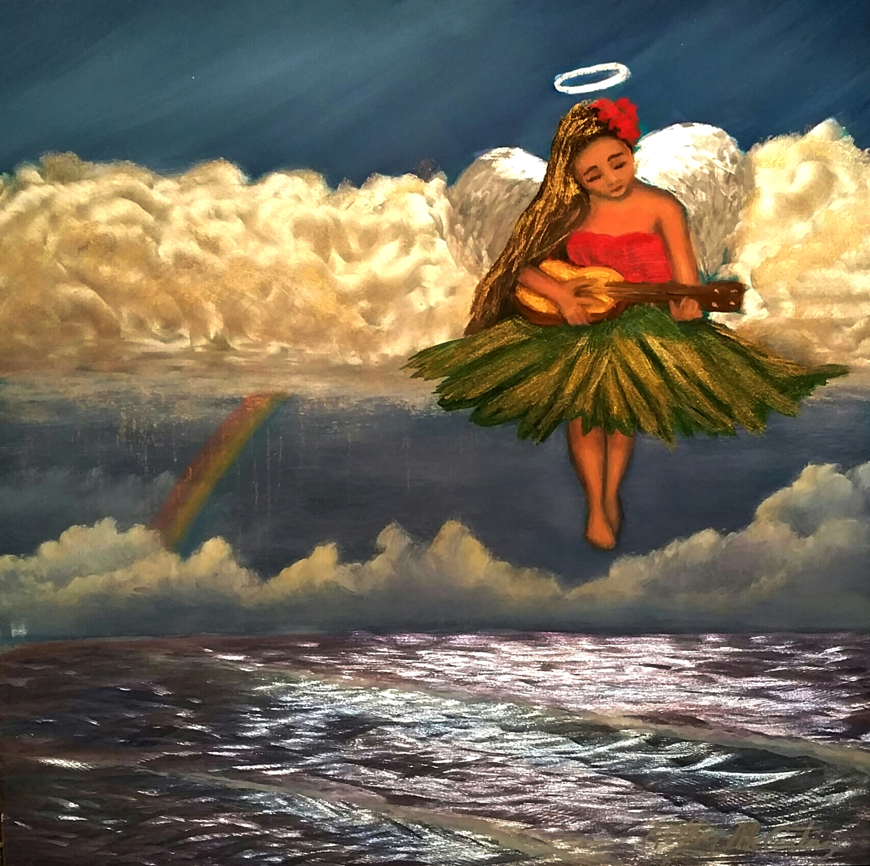 """Tears in Heaven – When Hula Angles Play"" is 12""x12"" $595.00 Grinded, etched metal, acrylic paint and oil paint, automotive clear coat"