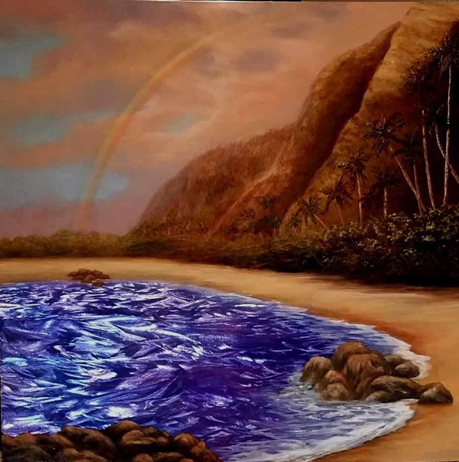"""Kauai Magic"" is 30""x30 sale $2900 Grinded, etched metal, acrylic paint and oil paint, automotive clear coat"