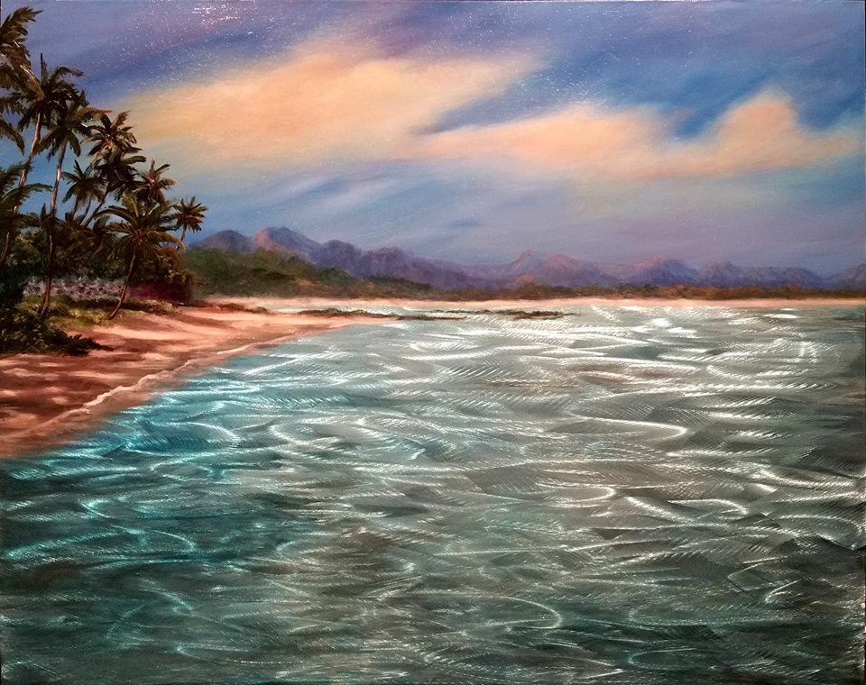 """""""Sprecksville – Paia, HI"""" is 16""""x20"""" is $1200 Grinded, etched metal, acrylic paint and oil paint, automotive clear coat"""