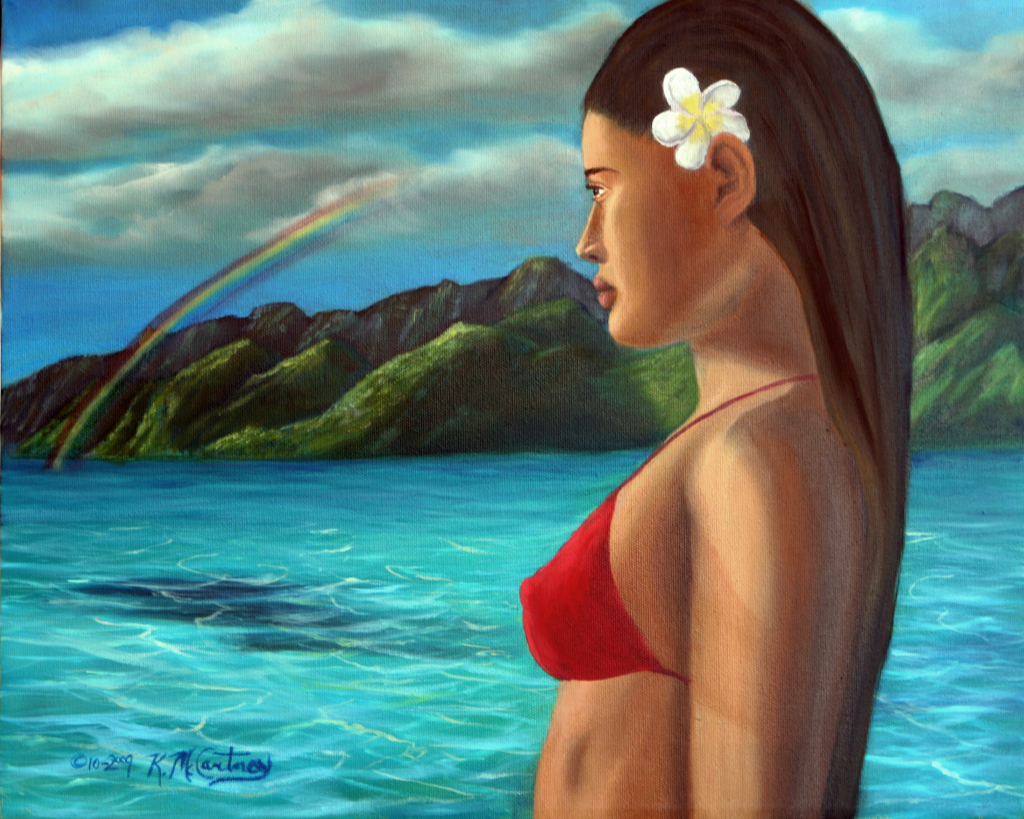 Polynesian Girl Facing Future, Orig. oil, 16x20, $195