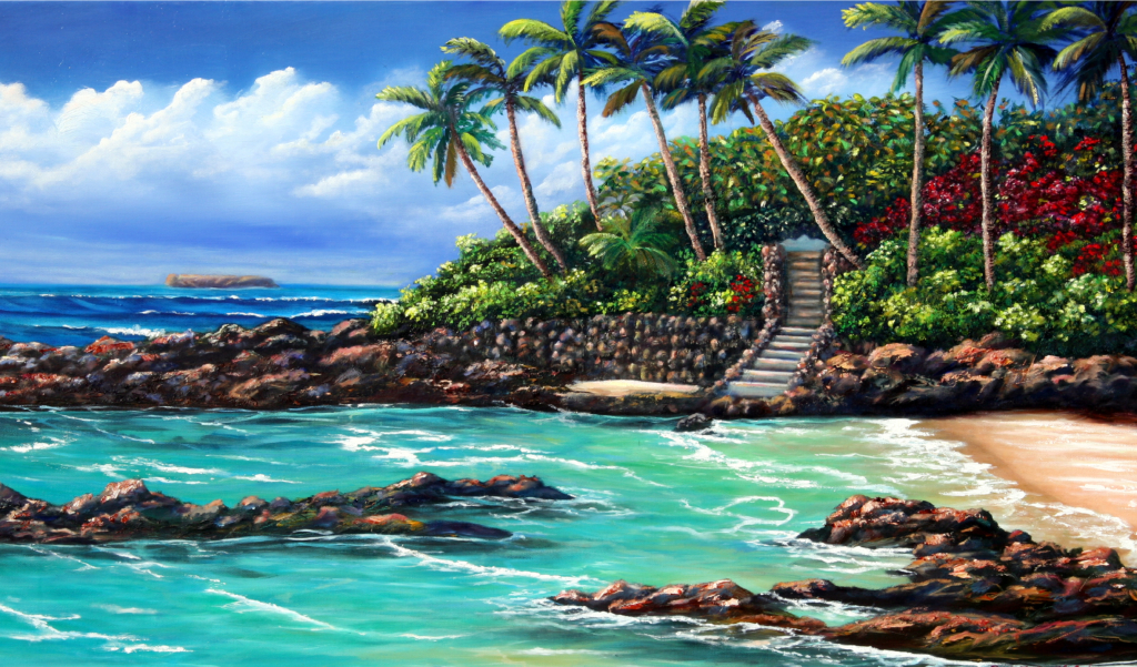 Secret Beach, Orig. oil, 24x36, $1,650, sold with simple black frame