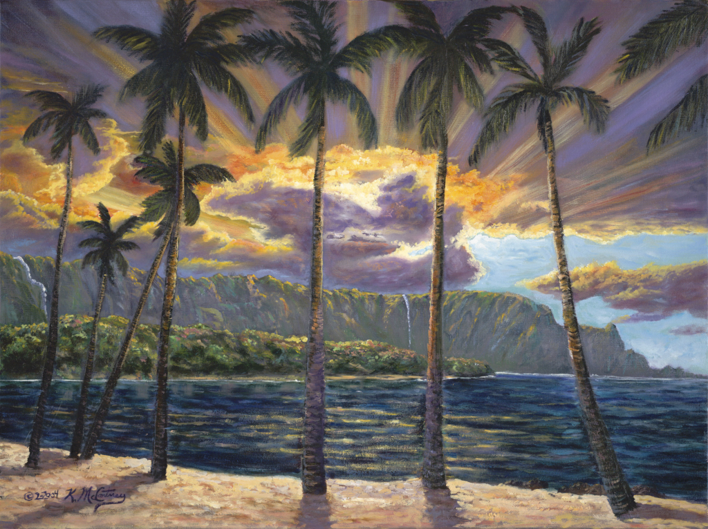 Stormy Sunset Bali Hai, Orig. oil, 18x24, $425., sold with simple black frame