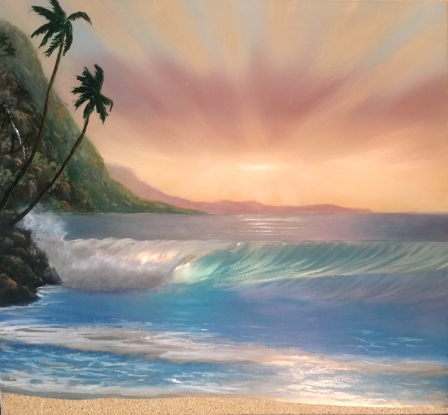 "Title ""Let There be Light…and There was Maui 15""x16"" price $1200"
