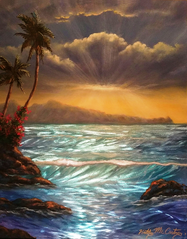 """Sunset Baldwin Beach"" is 11""x14"" price is $900 Grinded, etched metal, acrylic paint and oil paint, automotive clear coat"